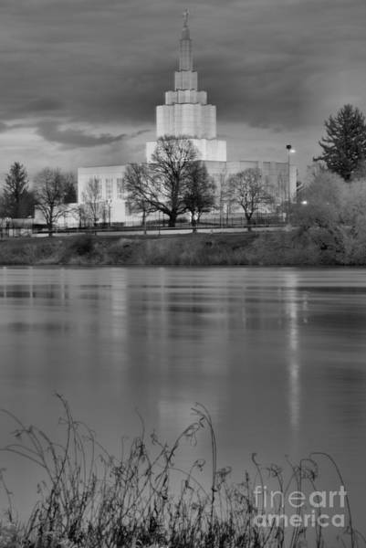 Photograph - Idaho Falls Temple Relfection Portrait Black And White by Adam Jewell