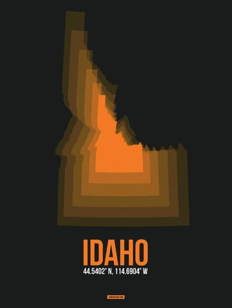 Wall Art - Digital Art - Idaho Orange Map by Naxart Studio