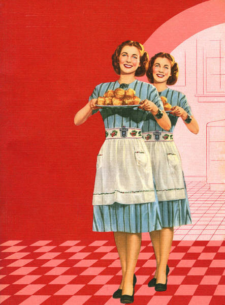 Identical Women Serving Rolls Art Print