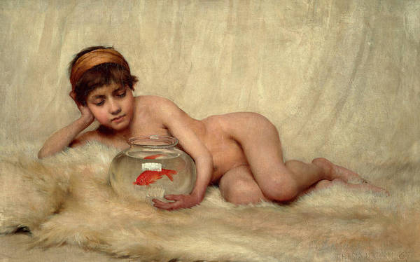 Wall Art - Painting - Idlesse, Watching Goldfish In The Nude by Thomas Kennington