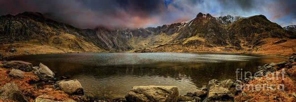 Photograph - Idwal Lake Winter Sunset by Adrian Evans