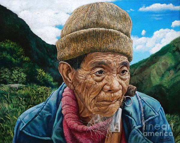 Painting - Ifugao Tribesman In Three Quarter View Portrait In Oil Painting by Christopher Shellhammer