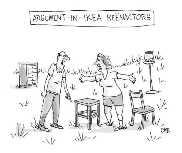Lawn Furniture Drawing - Ikea Reenactors by Adam Cooper and Mat Barton