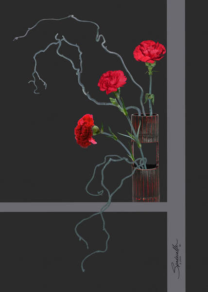 Wall Art - Mixed Media - Red Carnations And Bamboo Vase by Spadecaller