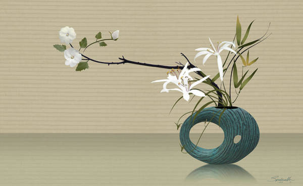 Wall Art - Digital Art - Ikebana With Turquoise Vase by Spadecaller