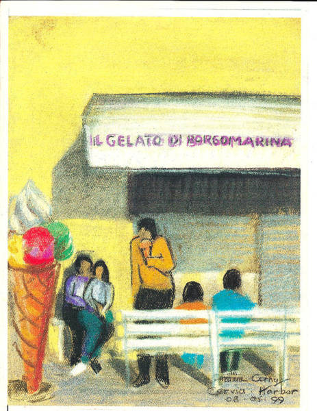 Painting - Il Gelato De Borgo Marina by Suzanne Cerny