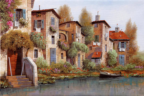 Stairs Painting - Il Salice Nel Borgo by Guido Borelli