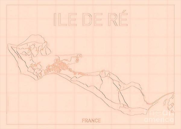 Digital Art - Ile De Re Blueprint Map by Helge