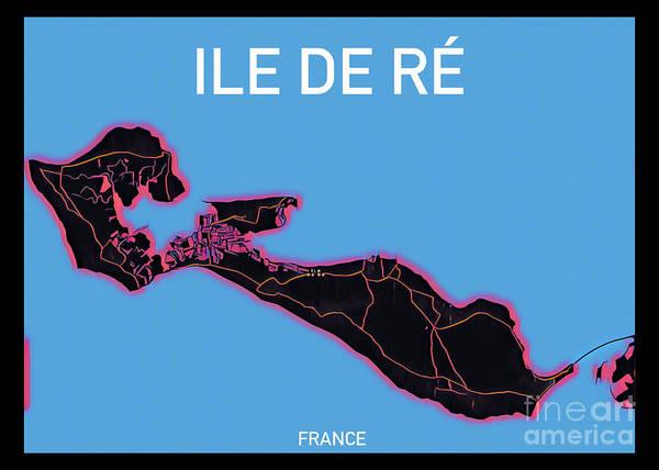 Digital Art - Ile De Re Map by Helge