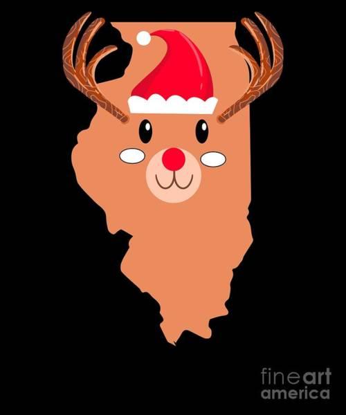 Ugly Digital Art - Illinois Christmas Hat Antler Red Nose Reindeer by TeeQueen2603