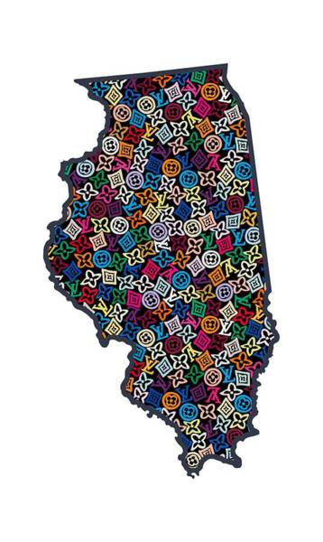 Springfield Illinois Wall Art - Painting - Illinois Map - 1 by Nikita