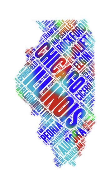 Digital Art - Illinois State Word Art Map With Cities by Peggy Collins