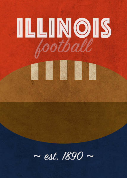 Wall Art - Mixed Media - Illinois University College Football Team Vintage Retro Poster by Design Turnpike