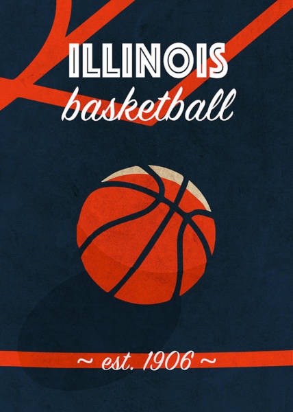 Wall Art - Mixed Media - Illinois University Retro College Basketball Team Poster by Design Turnpike