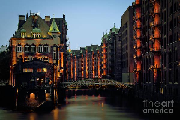 Wall Art - Photograph - Illuminated City At Dusk by Andreas Rumpf