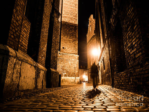 Wall Art - Photograph - Illuminated Cobbled Street With Light by Pyty