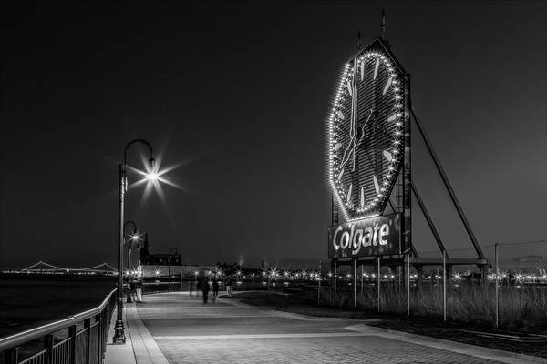 Photograph - Illuminated Colgate Clock Bw by Susan Candelario