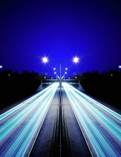 Washington Street Photograph - Illuminated Freeway At Night by Thomas Northcut