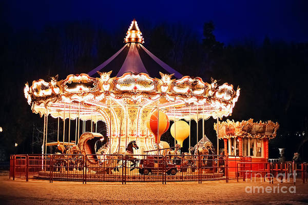Illuminated Retro Carousel At Night Art Print