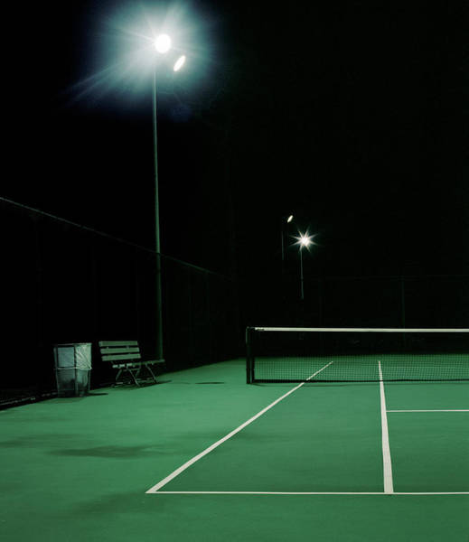 Court Photograph - Illuminated Tennis Court, Night by A.c.