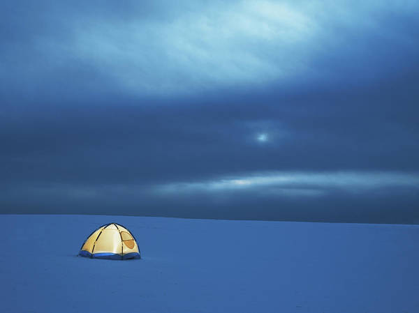 Tent Photograph - Illuminated Tent In Snowy Landscape by Henrik Sorensen