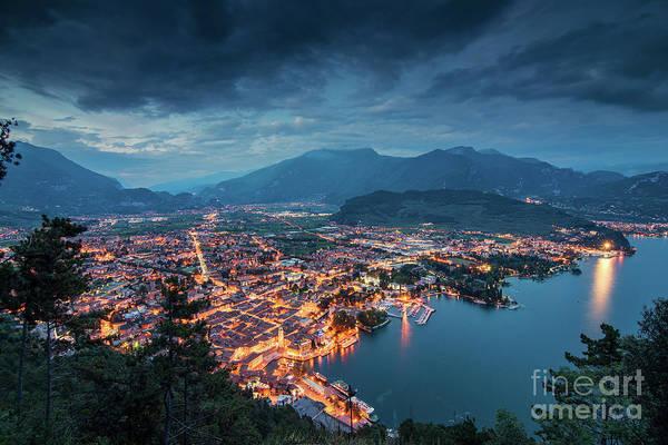 Wall Art - Photograph - Illuminated Townscape At Garda Lake by Danny Iacob