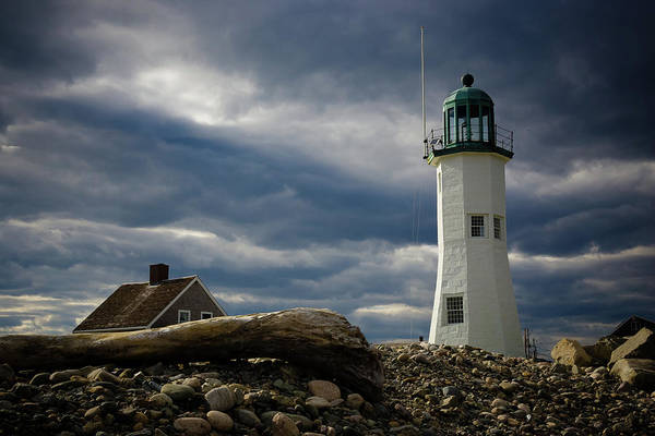 Photograph - Illuminating Scituate Lighthouse by Jeff Folger