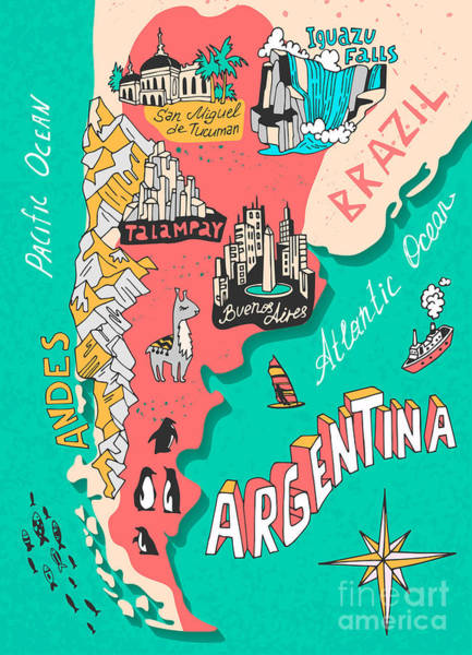 Illustrated Map Of Argentina. Travel Art Print