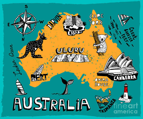 Wall Art - Digital Art - Illustrated Map Of Australia by Daria i