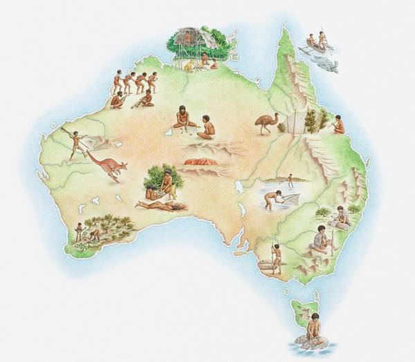 Indigenous Digital Art - Illustrated Map Of Australia Showing by Dorling Kindersley