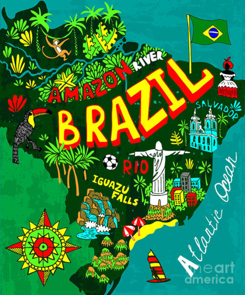 South Atlantic Wall Art - Digital Art - Illustrated Map Of Brazil by Daria i