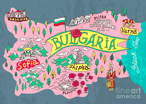 Wall Art - Digital Art - Illustrated Map Of Bulgaria. Travels by Daria i