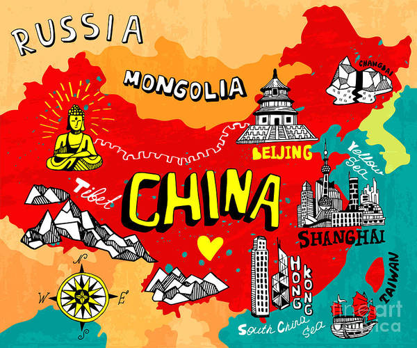 Wall Art - Digital Art - Illustrated Map Of China by Daria i