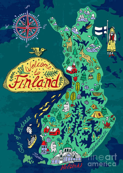 Wall Art - Digital Art - Illustrated Map Of Finland. Travels by Daria i