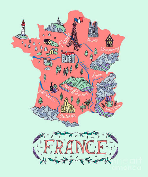 Illustrated Map Of France. Travel Art Print by Daria i