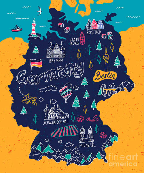 Souvenir Wall Art - Digital Art - Illustrated Map Of Germany by Daria i