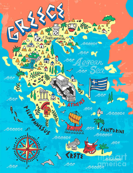 Wall Art - Digital Art - Illustrated Map Of Greece. Travels by Daria i