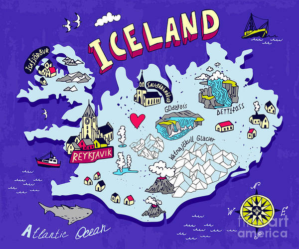 Wall Art - Digital Art - Illustrated Map Of Iceland. Travel by Daria i