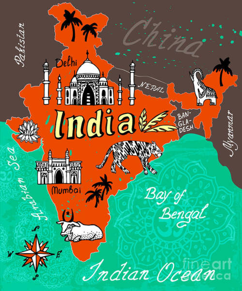 Wall Art - Digital Art - Illustrated Map Of India by Daria i