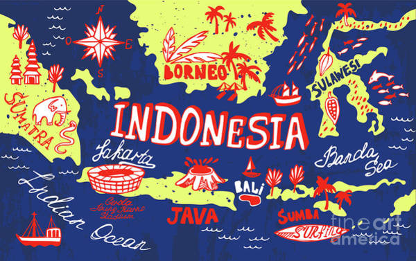 Wall Art - Digital Art - Illustrated Map Of Indonesia by Daria i