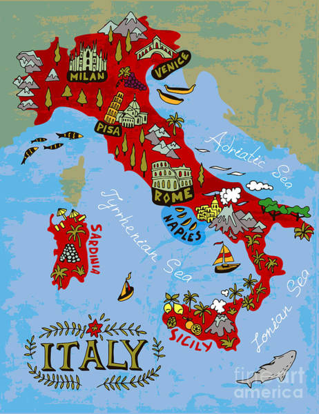 Wall Art - Digital Art - Illustrated Map Of Italy. Travel by Daria i