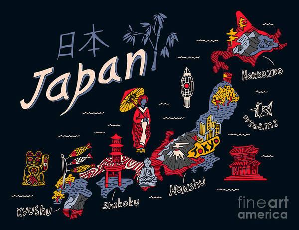 Wall Art - Digital Art - Illustrated Map Of Japan by Daria i