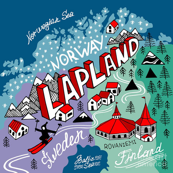 Title Digital Art - Illustrated Map Of Lapland by Daria i