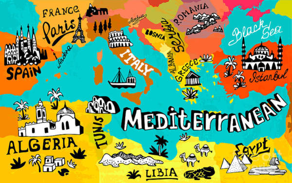 Illustrated Map Of Mediterranean Art Print