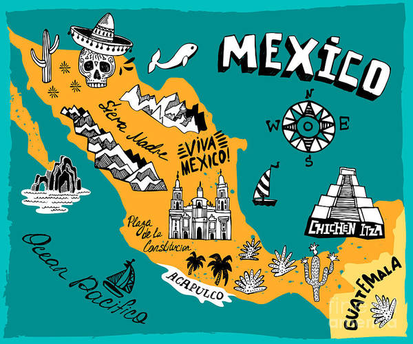 Wall Art - Digital Art - Illustrated Map Of Mexico  With The by Daria i