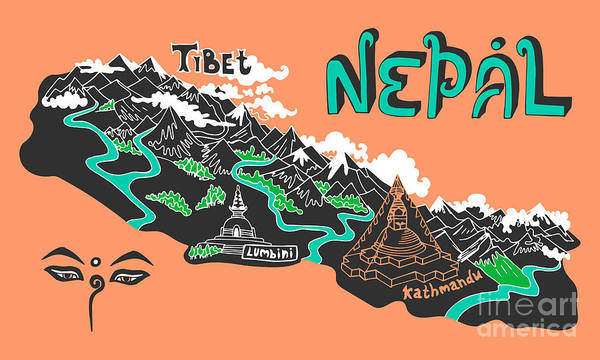 Wall Art - Digital Art - Illustrated Map Of Nepal by Daria i