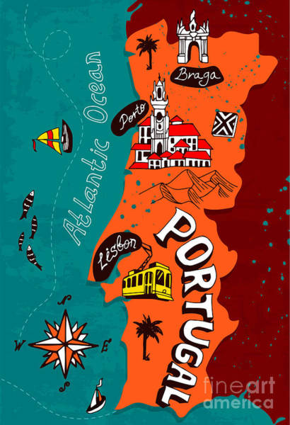 Tram Wall Art - Digital Art - Illustrated Map Of Portugal by Daria i