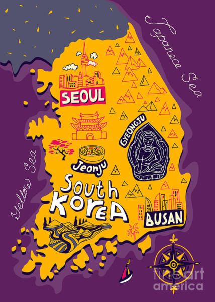 Wall Art - Digital Art - Illustrated Map Of South Korea by Daria i