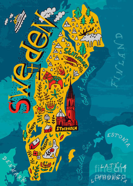 Wall Art - Digital Art - Illustrated Map Of Sweden by Daria i