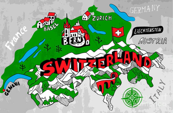Wall Art - Digital Art - Illustrated Map Of Switzerland by Daria i